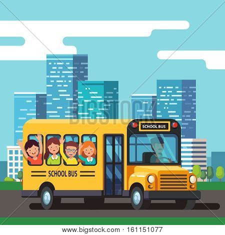City school bus driver riding urban road with kids. Town skyline background. Colorful flat style cartoon vector illustration.