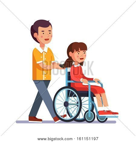 School boy caring about his friend girl who is temporarily disabled and recovering. Kid pushes wheelchair with person. Handicapped person socialization and help. Flat cartoon vector illustration.