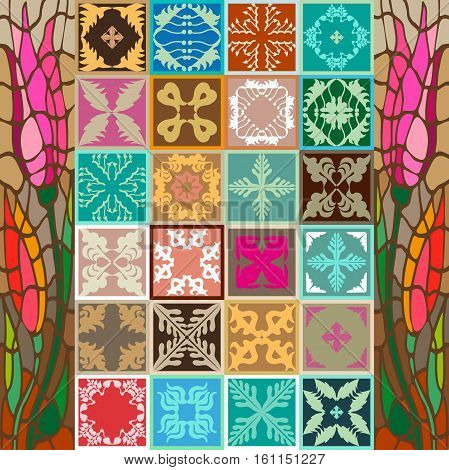 Oriental, Tunisian, Moroccan, Spanish motifs. Geometric ornaments, floral prints, boho stripes. Abstract vector background. Terracotta collection.