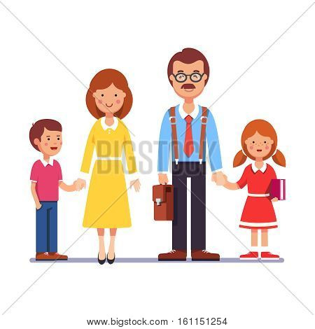 Family husband and wife standing with kids holding hands boy and girl. Mother and father with their children. Colorful flat style cartoon vector illustration.