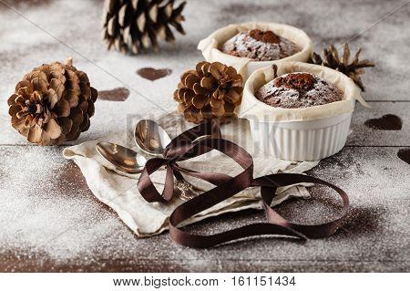 Fresh Chocolate Muffin In A Ramekin With Spoon