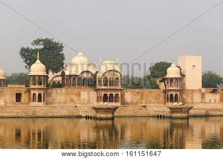 Kusum Sarovar Govardhan Mandir. This lake is one of the most visited places in Mathura. Next to it there are numerous temples and ashrams. Uttar Pradesh India.