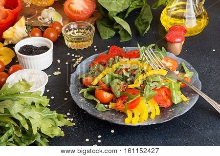 Salad Of Fresh Ripe Homegrown Vegetables. Ingredients For Preparing Salad.