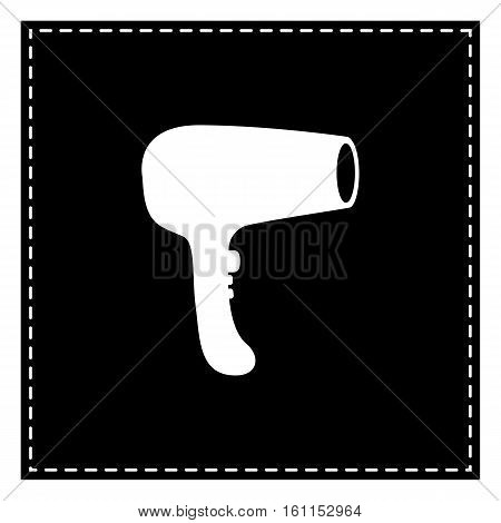 Hair Dryer Sign. Black Patch On White Background. Isolated.
