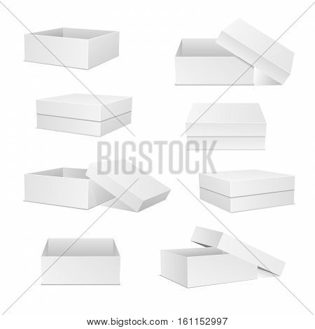 White boxes collection. Square box set. Open and closed presents. Cardboard packaging in front top side view. Realistic 3d isometric templates package and container. Vector isolated mockups.