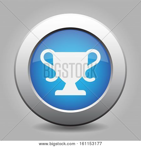 Blue metallic button with shadow. White sports cup icon.