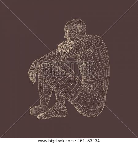 Man in a Thinker Pose. 3D Model of Man. Geometric Design. Human Body Wire Model. Business, Science, Psychology or Philosophy Vector Illustration.