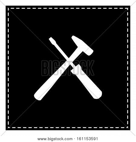 Tools Sign Illustration. Black Patch On White Background. Isolat