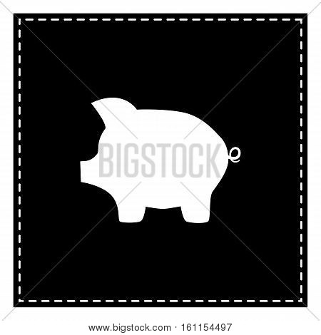Pig Money Bank Sign. Black Patch On White Background. Isolated.