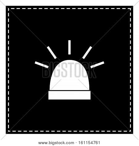 Police Single Sign. Black Patch On White Background. Isolated.