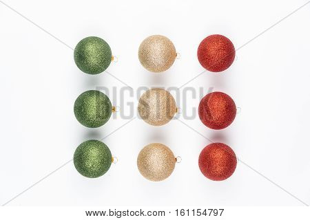 nine Christmas balls isolated on white background