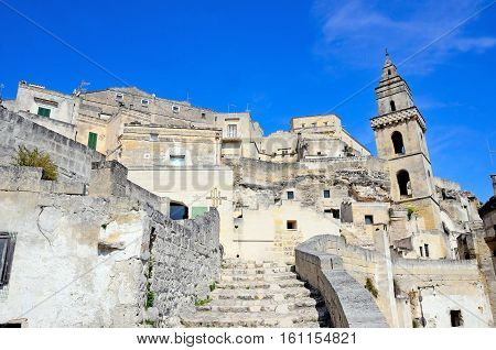 MATERA ITALY- 20 AUGUST  -the stones of Matera, European capital of culture 2019 - August 20 2016 Matera, Italy
