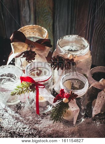 DIY glass candlesticks Christmas decor with lace and ribbons