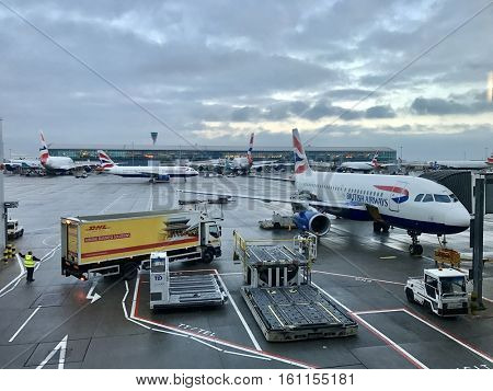 LONDON - DECEMBER 8: British Airways Terminal 5 aircraft operations at London Heathrow International Airport on December 8, 2016 in London, UK.