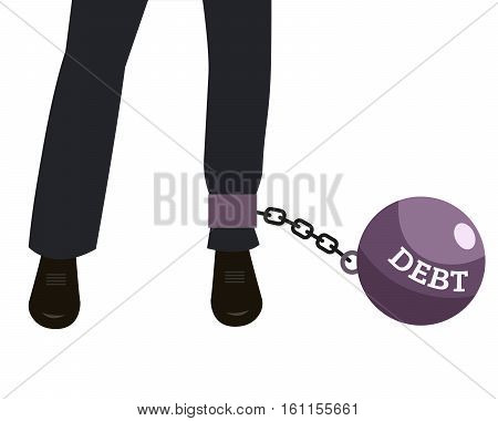 Weight of debt chained to businessman leg. Businessman corporate slavery concept.