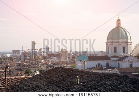 Brescia city landscape and the cathedral dome on the right