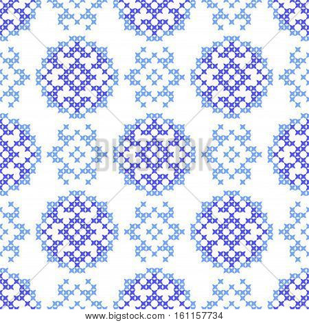 Seamless embroidered texture of abstract flat patterns, snowflakes, cross-stitch, ornament for cloth
