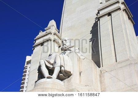 Miguel de Cervantes Saavedra writer monument in Madrid Spain. Plaza Espana