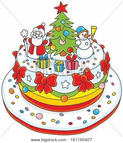 Christmas cake with Santa Claus, a decorated fir and a funny snowman