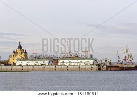 Nizhny Novgorod Russia. - September 30.2016. Construction of the stadium in Nizhny Novgorod to the FIFA World Cup 2018