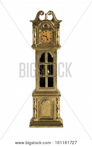 Shabby miniature grandfather clock isolated on white background