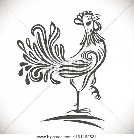Black and white ornamental rooster drawing. 2017 year symbol.