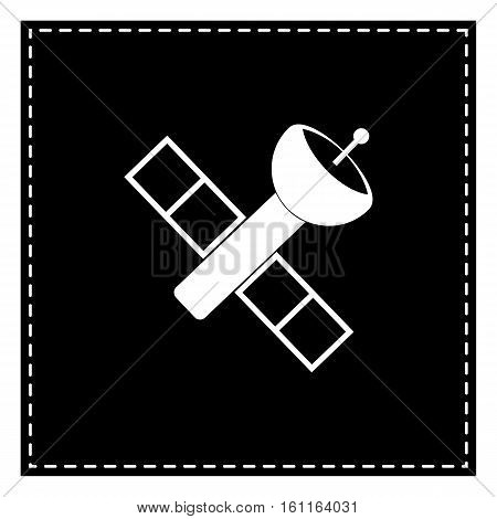 Satellite Sign Illustration. Black Patch On White Background. Is