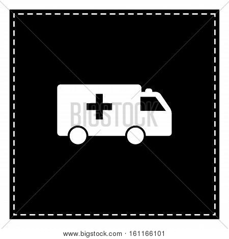 Ambulance Sign Illustration. Black Patch On White Background. Is