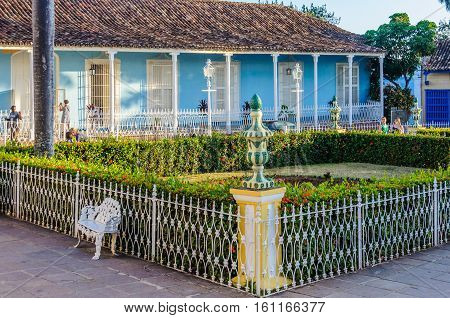 TRINIDAD, CUBA - MARCH 23, 2016: Garden in the main square of the UNESCO World Heritage old town of Trinidad Cuba