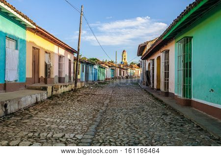 Empty cobblestone street in the UNESCO World Heritage old town of Trinidad Cuba