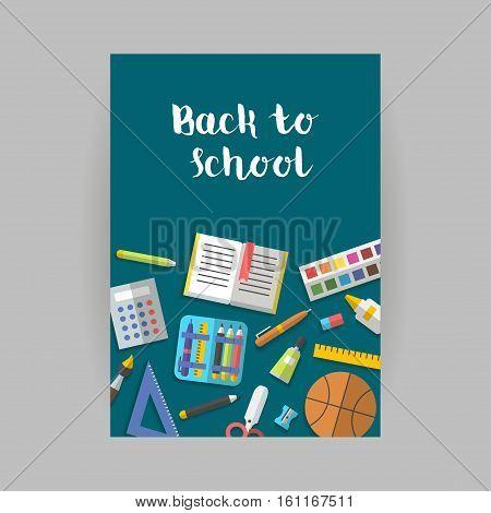 Back to school vertical banner flat education icon set. School supplies book, album, pencil, paint, pen, brush, ruler scissors etc Vector illustration