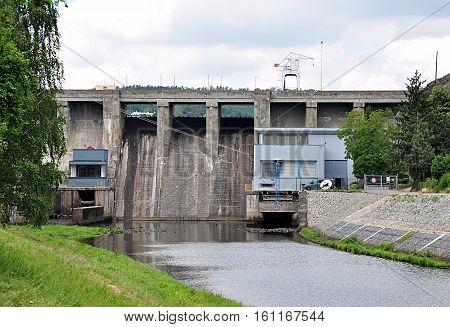Modern concrete dam, the city of Brno, Moravia, Czech Republic, Europe
