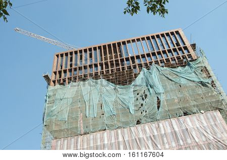 Construction of the high-rise building in Moskow on Novoalekseevskaya street