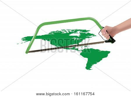 hand with saw that attempts to separate the two Americas