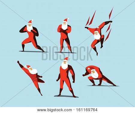 Vector illustration set of Superhero Santa Claus actions, different poses, business power icons set, cartoon colored style, red and orange costume, Christmas super energy. Santa with white beard.