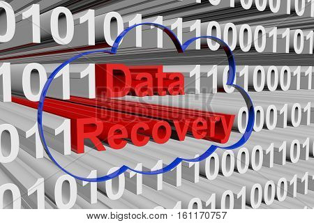 Data recovery is presented in the form of binary code 3d illustration