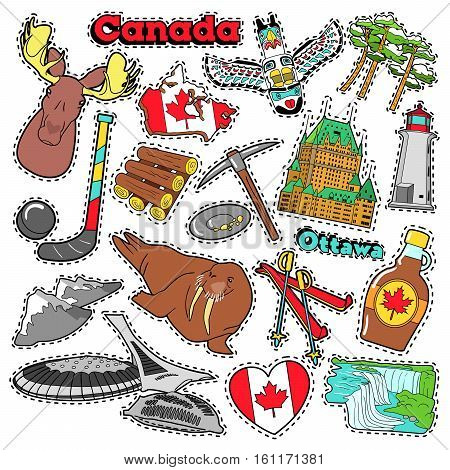 Canada Travel Scrapbook Stickers, Patches, Badges for Prints with Maple Syrup, Niagara Falls and Canadian Elements. Comic Style Vector Doodle