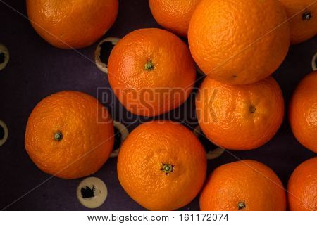 Crate Of Clementine Oranges, Close, From Above