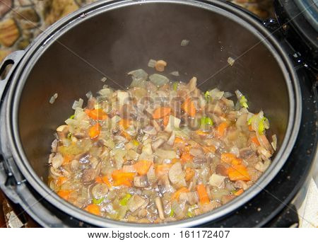 Preparation of mushrooms with carrot and onion in slow cooker