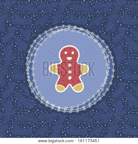 Christmas and New Year vintage ornate frame with Gingerbread Man symbol. Doodle illustration greeting card. Hand drawn background.