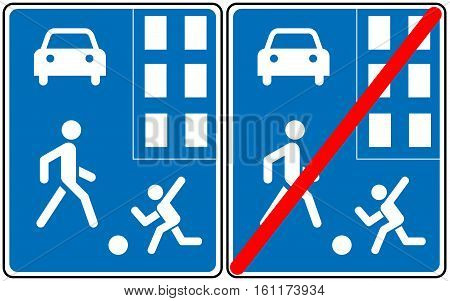 Pedestrian zone Symbol, home zone traffic signs. This area not for cars, bus, bikes. Vector illustration