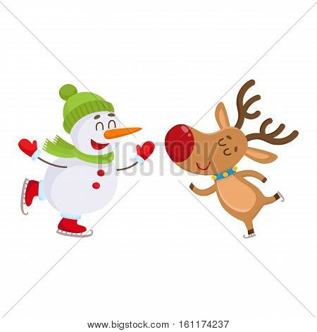 funny reindeer and snowman skating on ice, cartoon vector illustration isolated on white background. Deer and snowman, Christmas attributes, decoration elements
