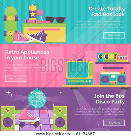 A collection of vintage retro 1980s style header banners. Bright illustrations of disco party, household innovations and appliances, personal items and accessories.