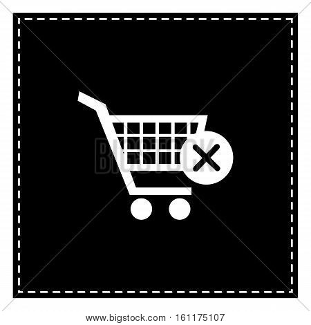 Shopping Cart With Delete Sign. Black Patch On White Background.