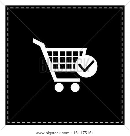 Shopping Cart With Check Mark Sign. Black Patch On White Backgro