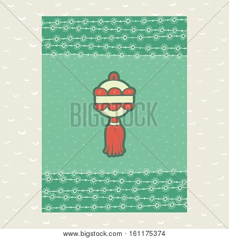 Christmas and New Year vintage ornate frame with holiday decoration ball lantern symbol. Doodle illustration greeting card. Hand drawn background.