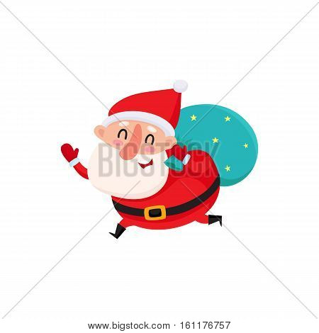 Funny Santa Claus running with bag of Christmas gifts, cartoon vector illustration isolated on white background. Santa Claus with Christmas gift bag on his shoulder, holiday season decoration element