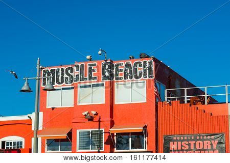 LOS ANGELES CALIFORNIA - NOVEMBER 02 2016: close up of Muscle Beach building in Venice beach