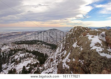 Snow covered foothills seen from atop Horsetooth Rock near Fort Collins, Colorado.