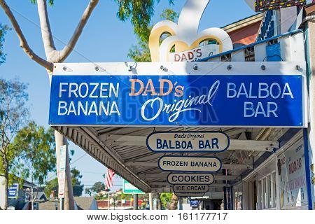 NEWPORT BEACH CALIFORNIA - NOVEMBER 01 2016: Frozen Banana stand in Balboa Island